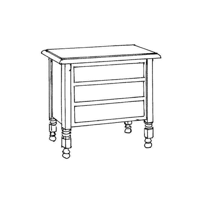 Louis XIII Side Table Custom Rectangle