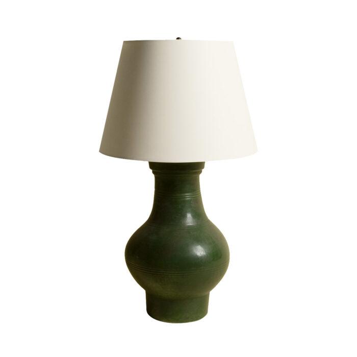 Chinese Ceramic Jar Lamp Green